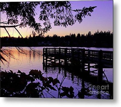 Sunset On Lake Ballinger Metal Print by Eddie Eastwood