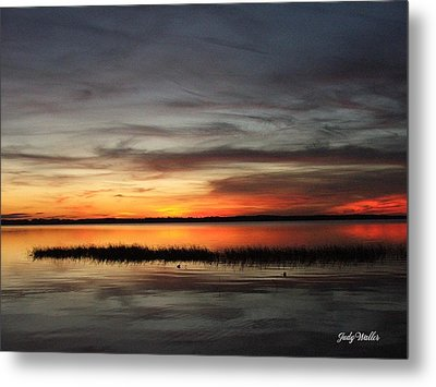 Sunset On Lake Lochloosa Metal Print by Judy  Waller