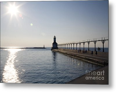 Sunset On Lake Michigan Metal Print by Jeannie Burleson
