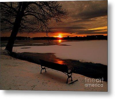 Sunset On Lake Quanapowitt Metal Print