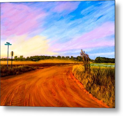 Sunset On Old Dirt Roads In Georgia Metal Print by Mark E Tisdale