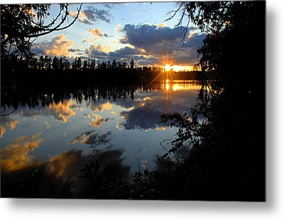 Sunset On Polly Lake Metal Print by Larry Ricker