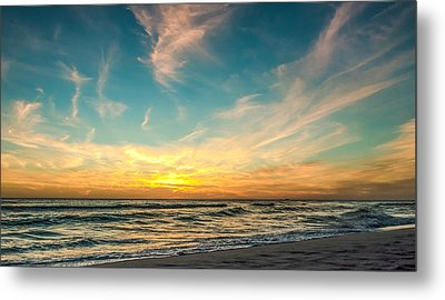 Sunset On The Beach Metal Print by Phillip Burrow