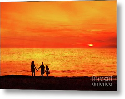 Metal Print featuring the digital art Sunset On The Beach by Randy Steele