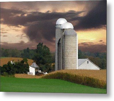 Sunset On The Farm Metal Print by David Dehner