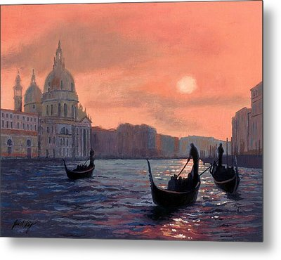 Sunset On The Grand Canal In Venice Metal Print by Janet King