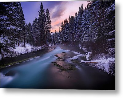 Metal Print featuring the photograph Sunset On The Metolius by Cat Connor