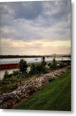 Sunset On The Mississippi Metal Print by Jen McKnight