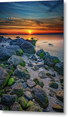 Sunset On The North Shore Of Long Island Metal Print by Rick Berk