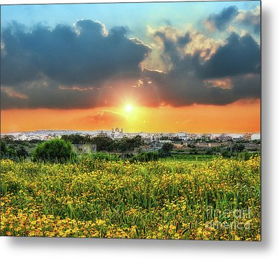 Sunset Over A Small Village Metal Print by Stephan Grixti