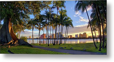 Sunset Over Downtown West Palm Beach From Palm Beach Island Metal Print