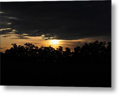 Sunset Over Farm And Trees - Silhouette View  Metal Print