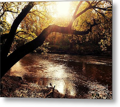 Sunset Over Flat Rock River - Southern Indiana Metal Print by Scott D Van Osdol