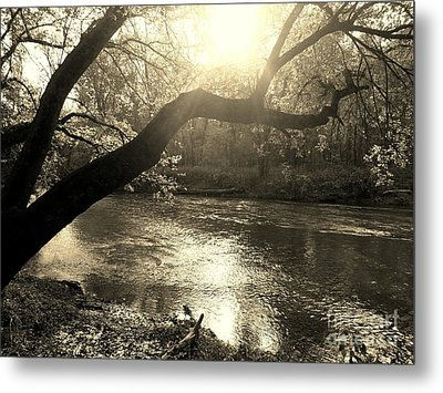 Sunset Over Flat Rock River - Southern Indiana - Sepia Metal Print by Scott D Van Osdol