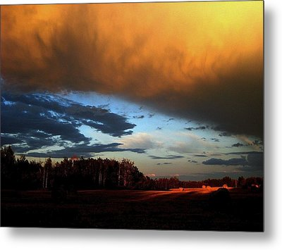 Sunset Over Hayfield Metal Print by Shirley Sirois
