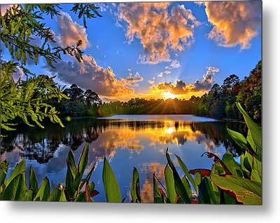 Metal Print featuring the photograph Sunset Over Hidden Lake In Jupiter Florida by Justin Kelefas
