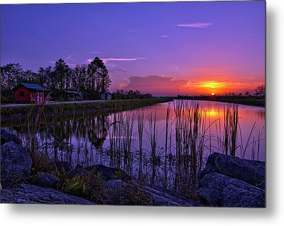 Sunset Over Hungryland Wildlife Management Area Metal Print