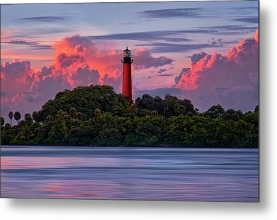 Metal Print featuring the photograph Sunset Over Jupiter Lighthouse, Florida by Justin Kelefas