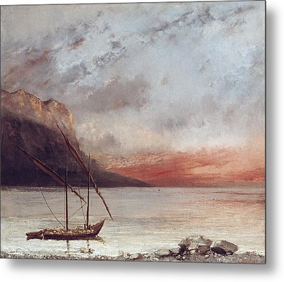 Sunset Over Lake Leman Metal Print