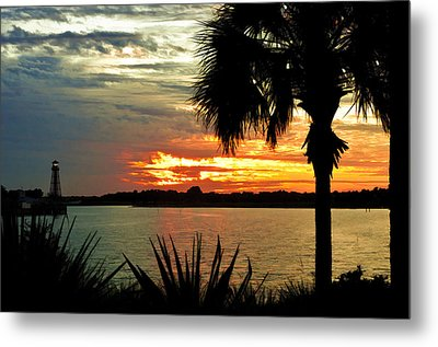 Sunset Over Lake Sumter Landing Metal Print by Betty Eich