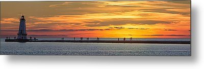 Metal Print featuring the photograph Sunset Over Ludington Panoramic by Adam Romanowicz