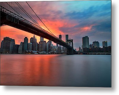 Sunset Over Manhattan Metal Print by Larry Marshall