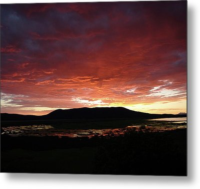 Metal Print featuring the painting Sunset Over Mormon Lake by Dennis Ciscel