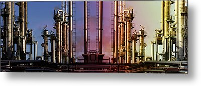 Sunset Over Oil And Gas Industry Metal Print by Christian Lagereek