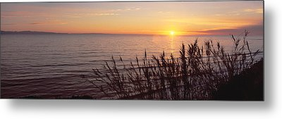 Sunset Over Pacific Ocean Near Santa Metal Print by Panoramic Images