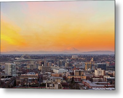 Sunset Over Portland Cityscape And Mt Saint Helens Metal Print