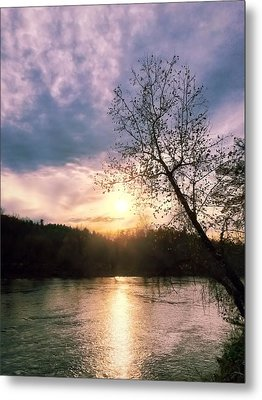 Sunset Over River Metal Print