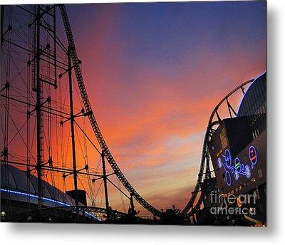 Sunset Over Roller Coaster Metal Print by Eena Bo