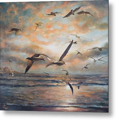 Sunset Over The Sea Metal Print by Vali Irina Ciobanu