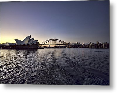 Sunset Over Sydney Harbor Bridge And Sydney Opera House Metal Print by Douglas Barnard