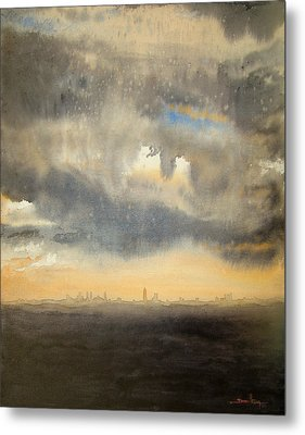 Metal Print featuring the painting Sunset Over The City by Andrew King