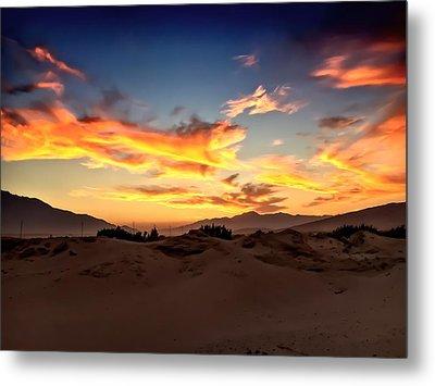 Sunset Over The Desert Metal Print by Chris Tarpening