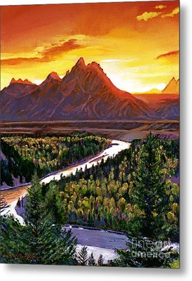Sunset Over The Grand Tetons Metal Print by David Lloyd Glover