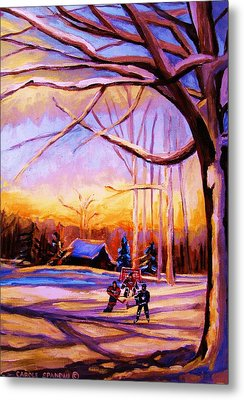 Sunset Over The Hockey Game Metal Print by Carole Spandau