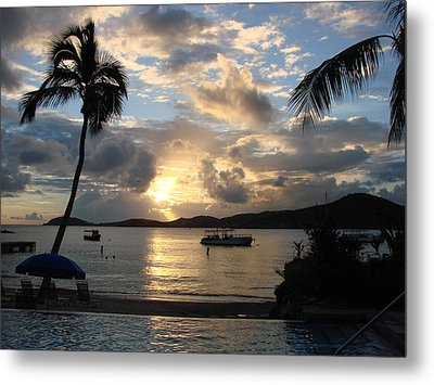Sunset Over The Inifinity Pool At Frenchman's Cove In St. Thomas Metal Print by Margaret Bobb