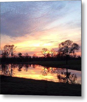 Sunset On The Lake Metal Print by Jen McKnight