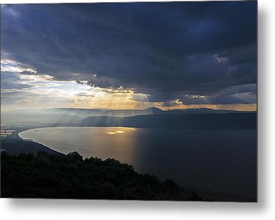Sunset Over The Sea Of Galilee Metal Print by Dubi Roman