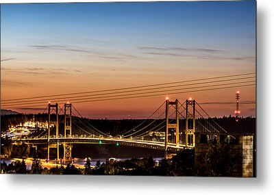 Sunset Over The Tacoma Narrows Bridges Metal Print