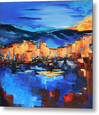 Sunset Over The Village 2 By Elise Palmigiani Metal Print by Elise Palmigiani