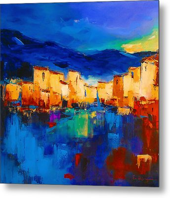 Sunset Over The Village Metal Print by Elise Palmigiani