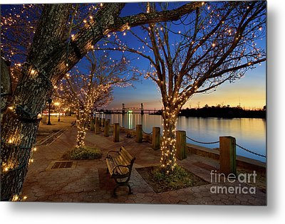 Sunset Over The Wilmington Waterfront In North Carolina, Usa Metal Print