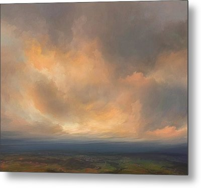 Sunset Over Valley Metal Print by Lonnie Christopher