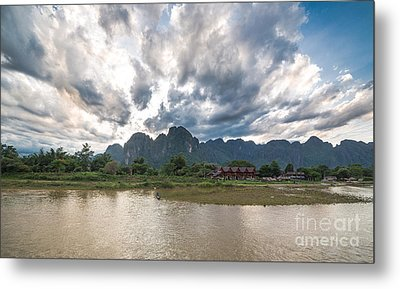 Sunset Over Vang Vieng River In Laos Metal Print