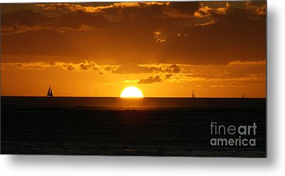 Sunset Over Waikiki Metal Print by Angela DiPietro