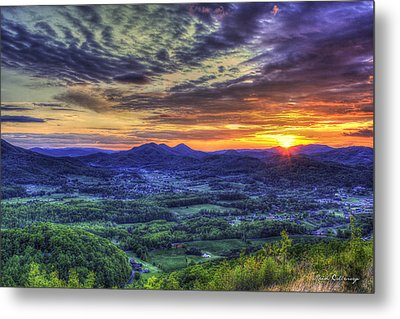 Sunset Over Wears Valley Tennessee Mountain Art Metal Print by Reid Callaway