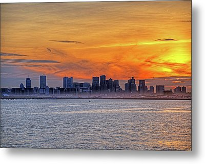 Sunset Ovet The Boston Skyline Boston Ma Metal Print by Toby McGuire